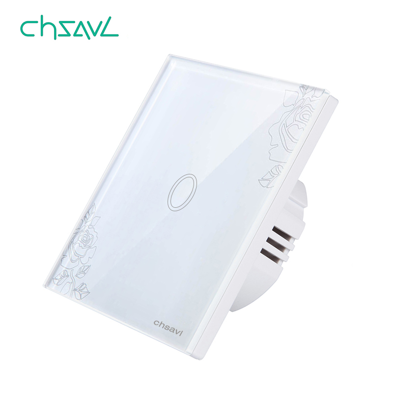 CHSAVL Wall Touch Switch 1 Gang 1 Way EU Standard Switch AC 110 220V Light Screen