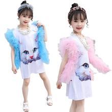 Girl Kid Gauze Dress Cute Cat Pattern Sleeveless Long Shirt