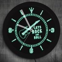 1Piece Rocking Guitar LED Neon Effect Wall Clock Modern Design Rock N Roll Musical Instrument Mood Light For Music Lover Gift
