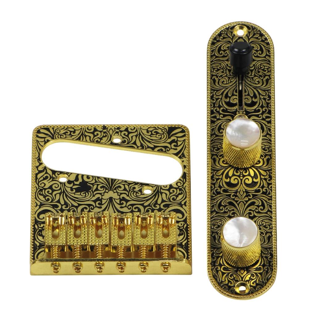 FLEOR 6 String Electric Guitar Tremolo Bridge Tele Pre wired Control Plate Set Carved Gold Black