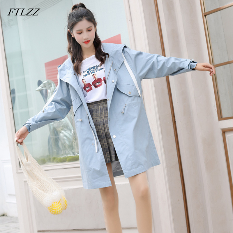 FTLZZ Hooded Windbreaker Long Coats Women   Trench   Coats Spring Autumn Female Sash Tie Up Casual Ladies Outerwear
