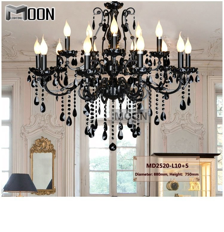 Vintage Black Wrought Iron Light Fixture: Aliexpress.com : Buy Vintage Black 15 Arms Crystal