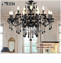 Vintage Black 15 Arms Crystal Chandelier Light Fixture Large American Wrought Iron Hanging MD2520 L15