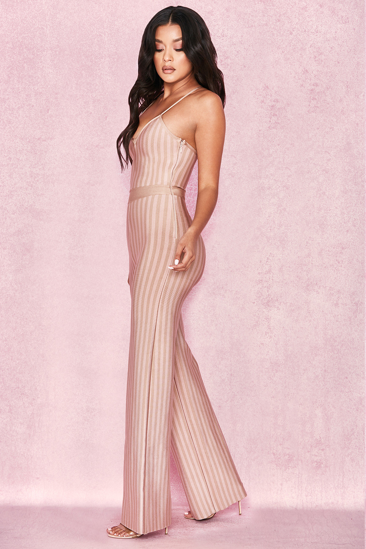 2018 Elegant Fashion Women Beige Striped Spaghetti Strap Bandage Jumpsuit  Sexy Summer Celebrity Party Jumpsuits Wholesale Festa 1e3420c11f35