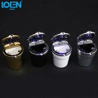 High Quality Universal Car Cigarette Ashtray Blue Color LED Lights Removable Black Round Bucket For Men