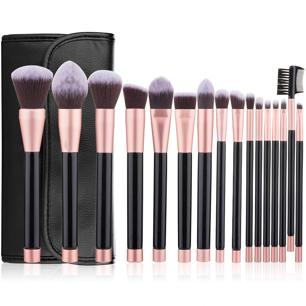 RANCAI 16pcs Makeup Brushes Foundation Powder Eyeshadow Blending Kits contour Brush Cosmetic Beauty Tools Kit with Leather Bag 16pcs mermaid makeup brush set fish tail foundation powder eyeshadow make up brushes for contour blending cosmetic tools new hot