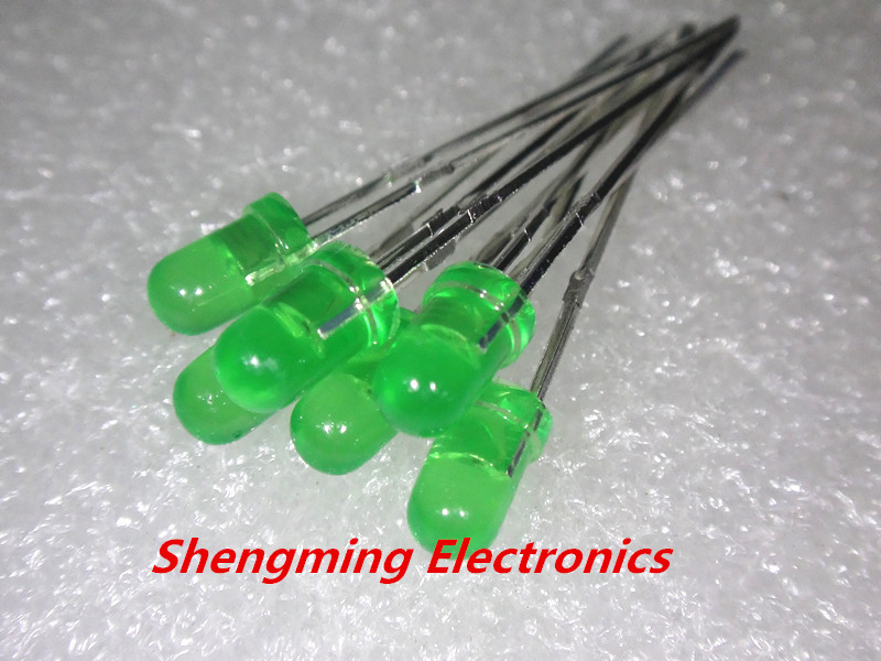 100pcs 3MM ROUND GREEN COLOR GREEN LIGHT Super Bright Bulb Lamp LED DIFFUSED