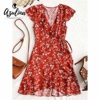 AZULINA Tiny Floral Ruffle Wrap Mini Dress 2018 Boho Summer Dress Women V Neck Casual Short