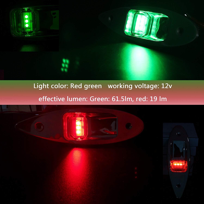 Marine Bow Light 12V Stainless Steel LED Navigation Side Lights Boat Yacht RNA