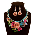 Jewelry Sets European Fashion Luxury for Women Evening African Beads Jewelry Set Suspension Crystal Flower Earring Necklace 2017