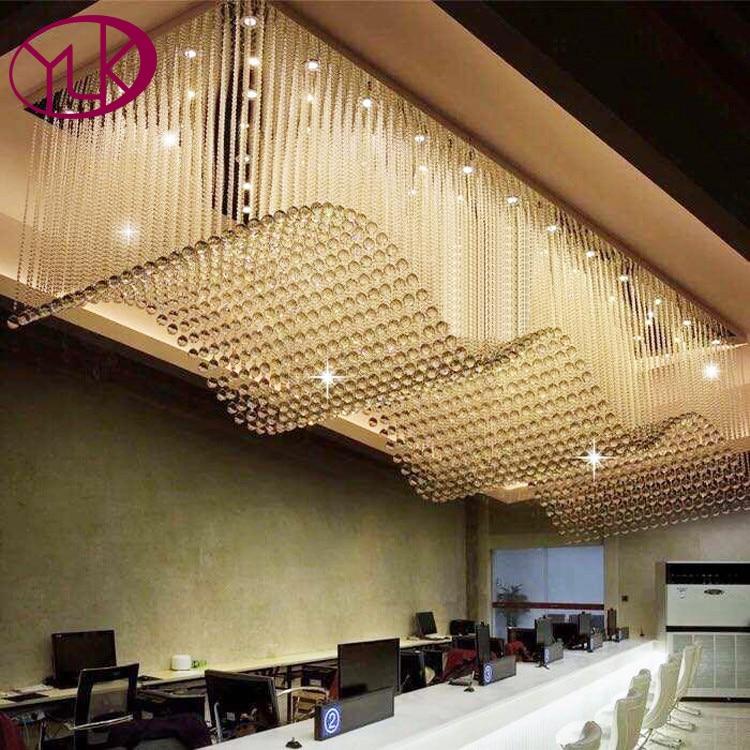 Top Sale Luxury Modern Crystal Chandelier For Living Room Rectangle LED Lustres De Cristal Lamp Long Dining Room Light Fixture