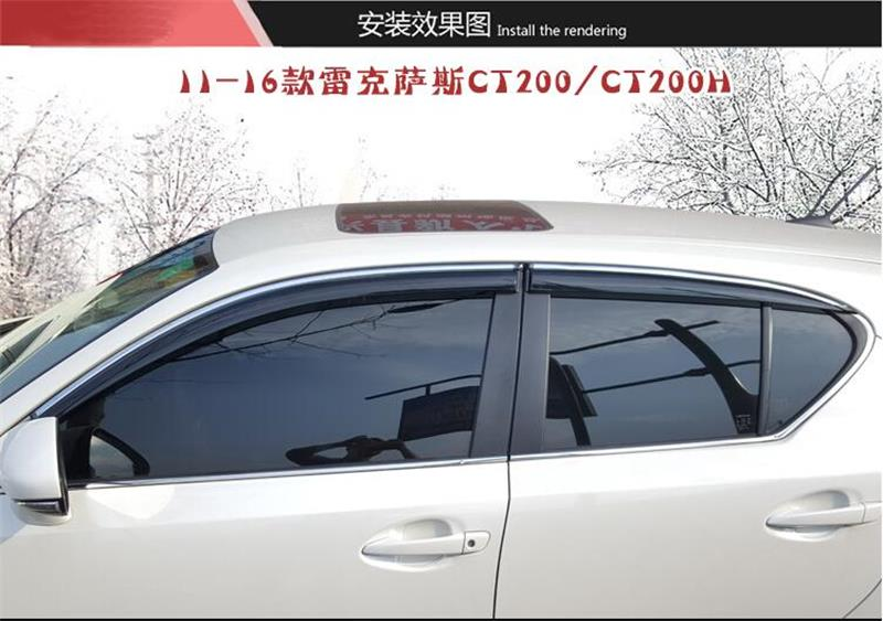 Car Awnings For Lexus CT200H 2011 2012 2013 2014 2015 2016 Window Vent Shades Sun Rain Deflector Guard Car-Styling Accessory 4pcs for toyota corolla 2014 2015 sun rain shield covers car awnings