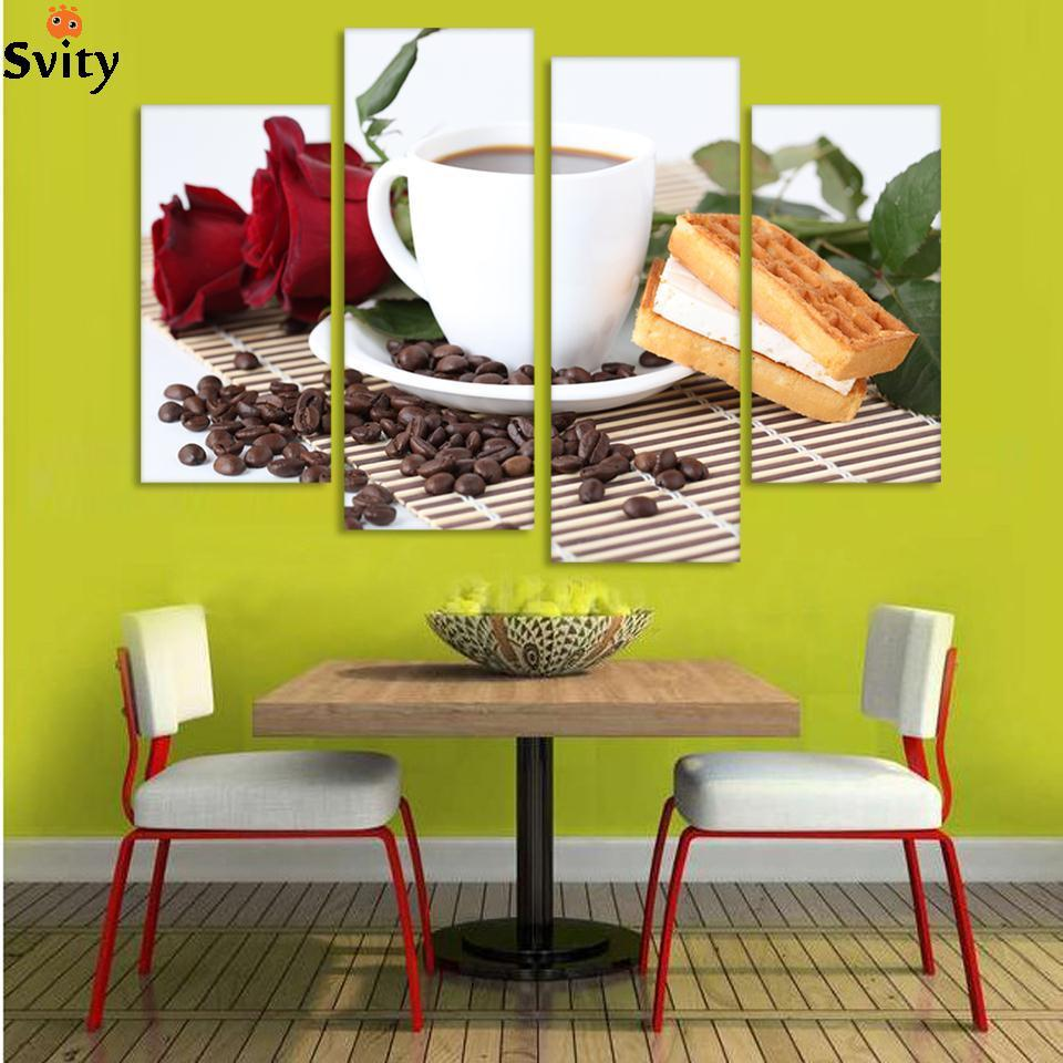 Canvas Print Painting Artwork, Cafe styles Coffee Beans CFf025, HD 4 ...