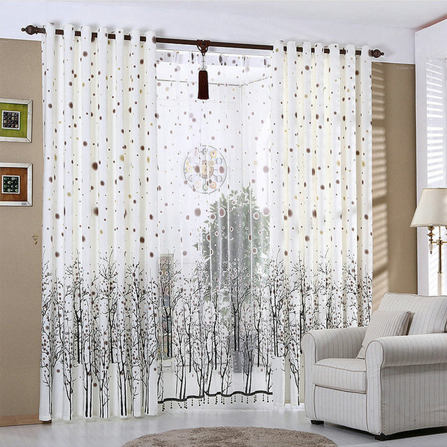White Curtains For Living Room Rustic Kitchen Curtains Beaded Snowy Plants  Black Trees Window Treatment/