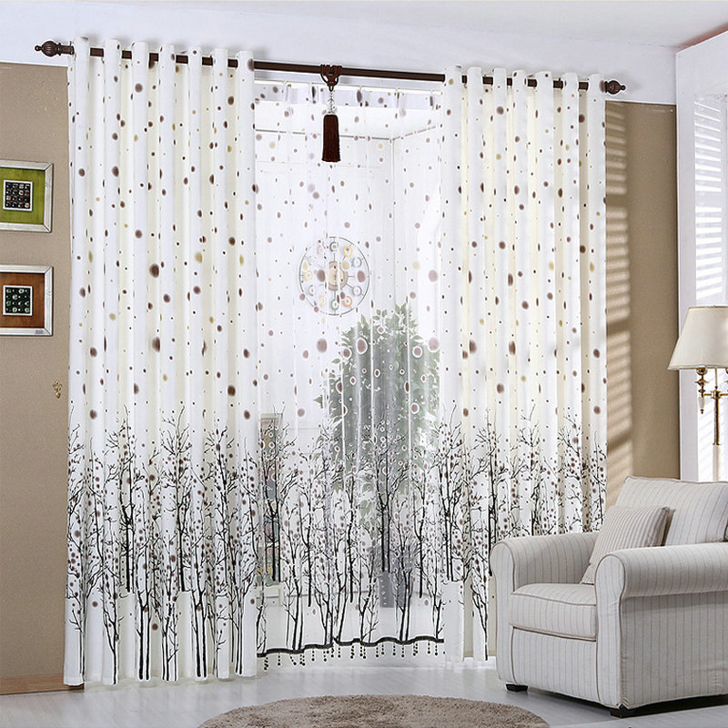 White Curtains For Living Room Rustic Kitchen Curtains Beaded Snowy Plants Black Trees Window Treatment