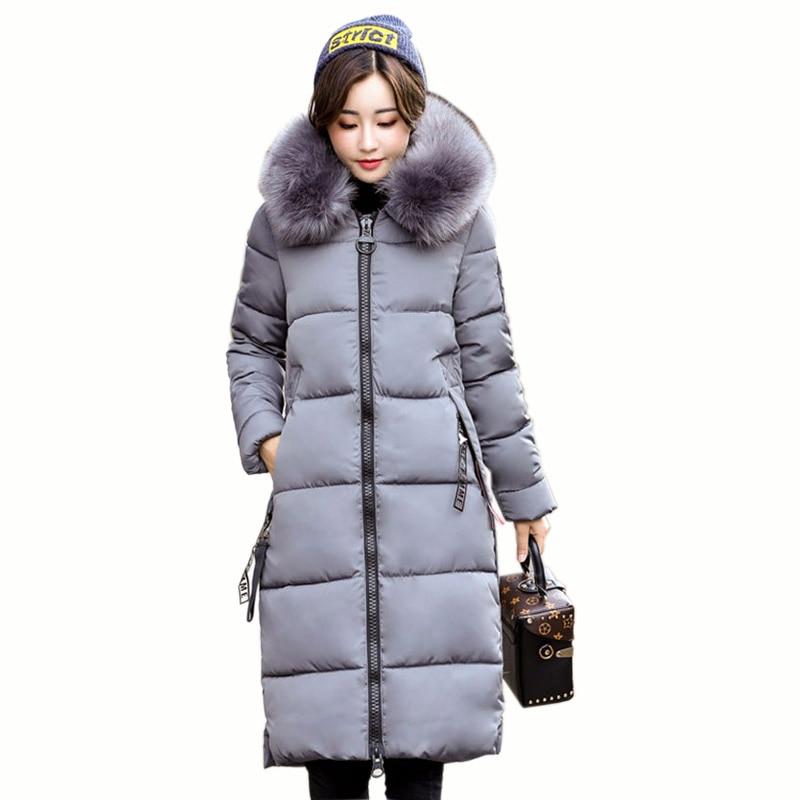 XXL Women Winter Long Down Coat 2017 Fashion Female Duck Parkas Jacket Thick Warm Big Fur Collar Down Coat Slim Plus Size