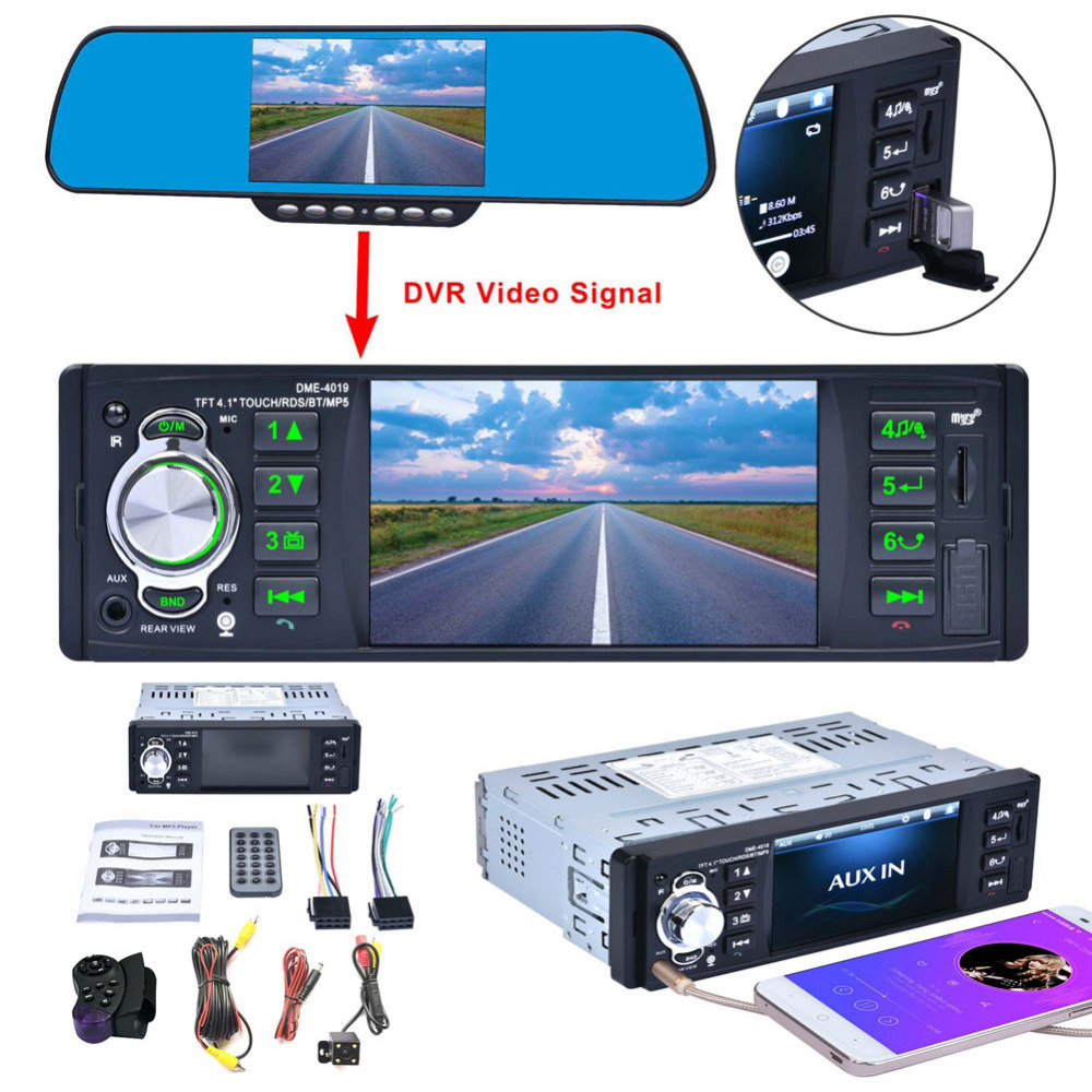 4.1'' TFT HD Screen Car Radio MP5 Player Stereo Audio Bluetooth 1080P FM USB Rear View Camera Steering Wheel Remote Control 12v 4 1 inch hd bluetooth car fm radio stereo mp3 mp5 lcd player steering wheel remote support usb tf card reader hands free