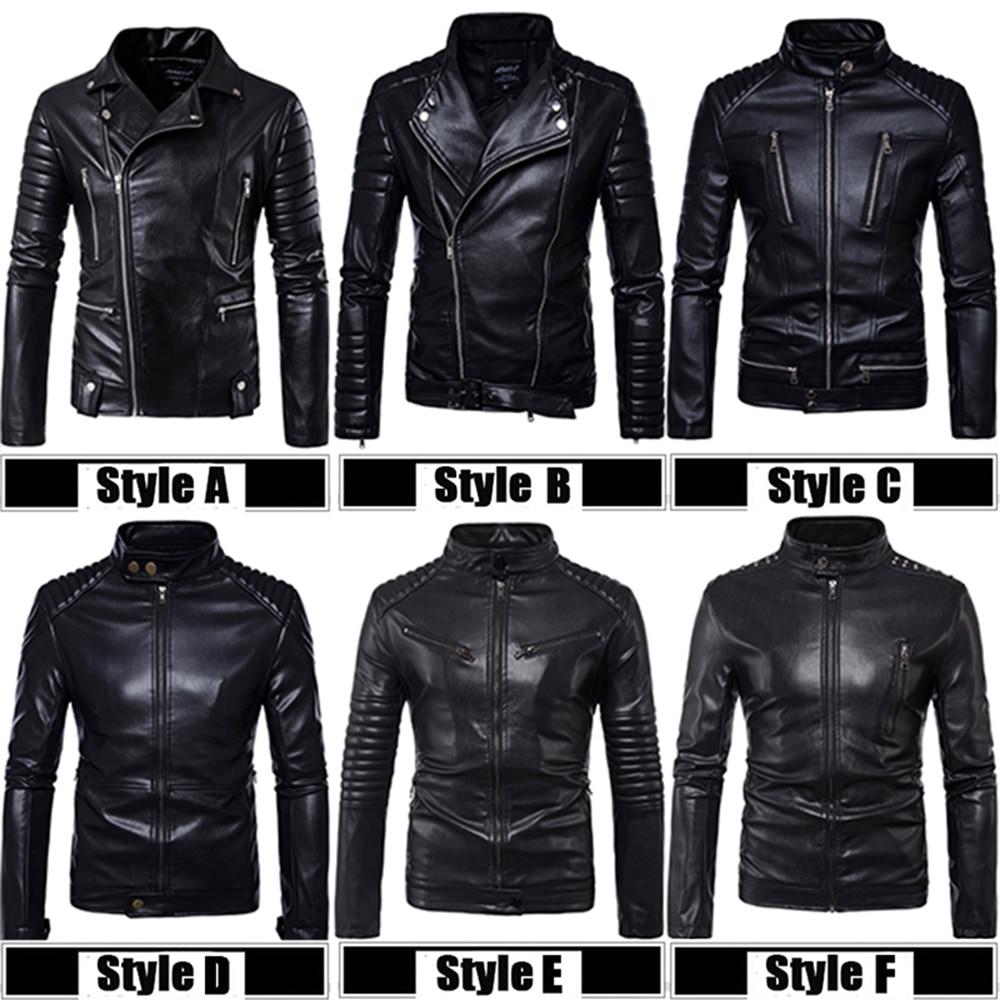 Top Quality PU 2018 New Fashion Male Biker Mortorcycle Black Leather Jacket Men Plus Siz ...