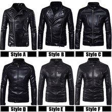 Top Quality PU 2018 New Fashion Male Biker Mortorcycle Black Leather Jacket Men Plus Size 5XL Shoulder Protector Design