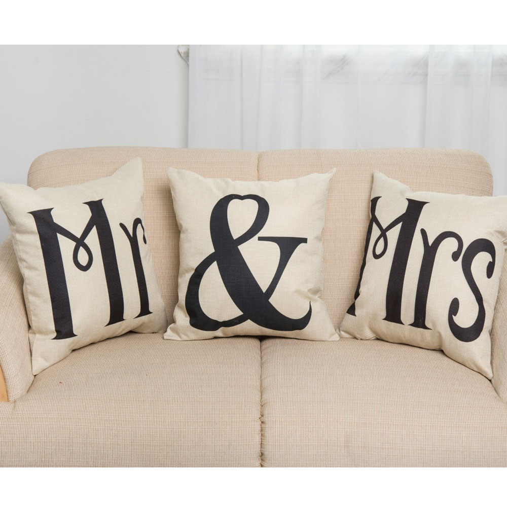 43*43CM Simple Mr & Mrs Couple Linen Cotton Cushion Cover Waist Case Lip Creative Throw Pillows Cover Home Sofa Decor Lover Gift