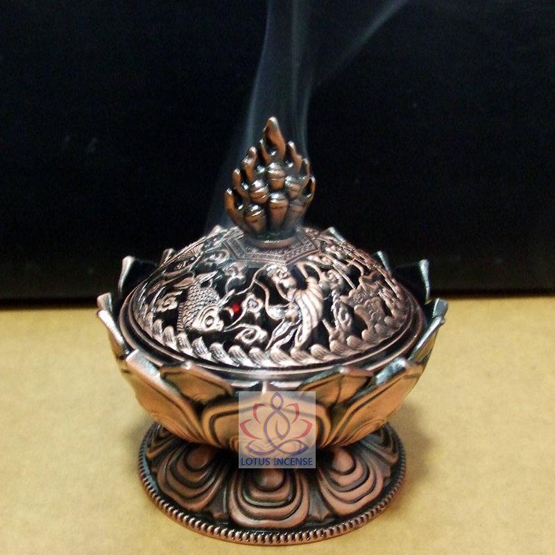 Quemador de incienso tibetano de loto 7.8 * 7.2 * 6.0 cm Aleación de - Decoración del hogar - foto 2