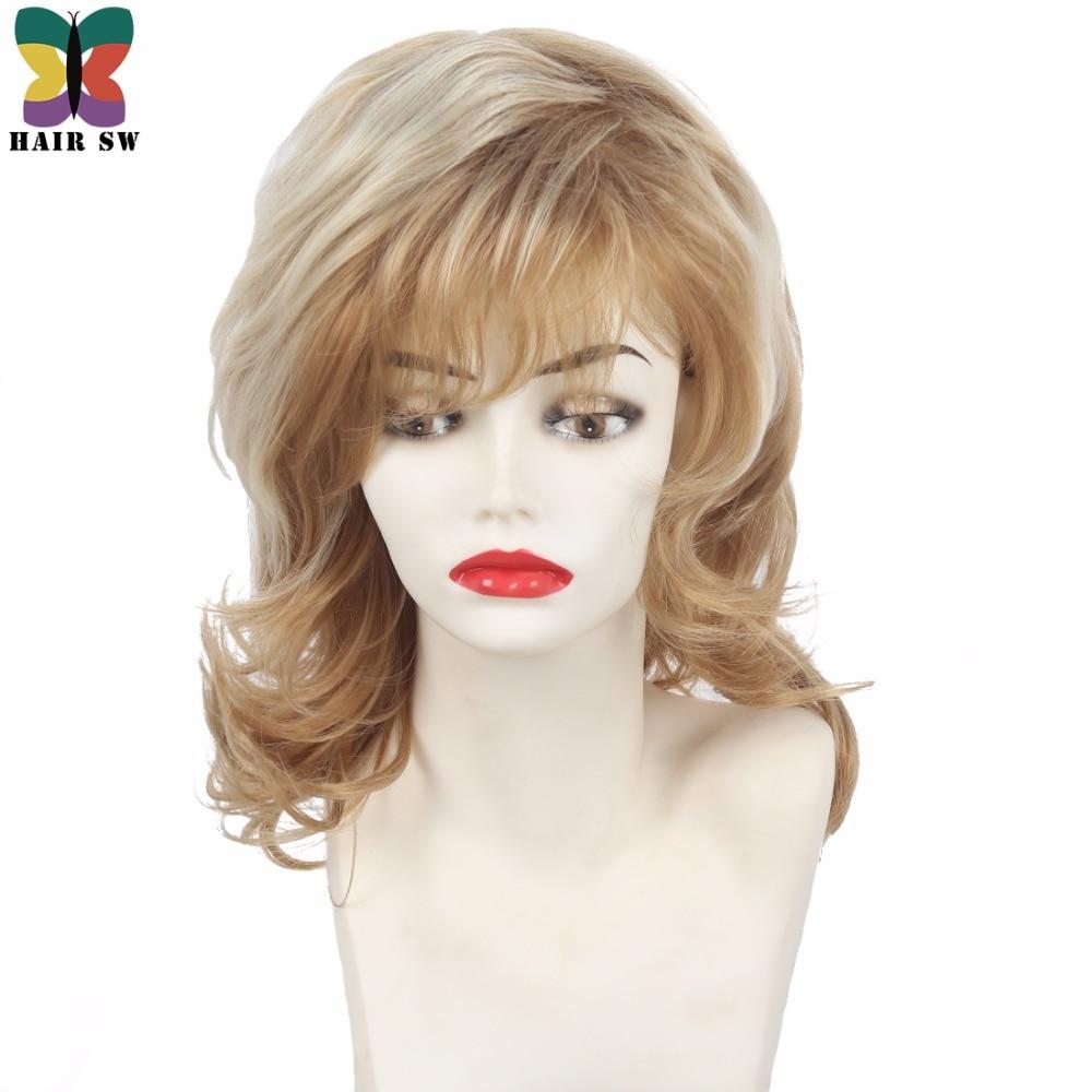 Kvinnors Medium Längd Shag Fluffy Curly Synthetic Wig Light Röd - Syntetiskt hår - Foto 1