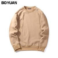 BOYUAN Brand Spring Autumn New Men Casual Hoodies Sweatshirt Solid Color Fleece Polyester Pullover Coat Warm