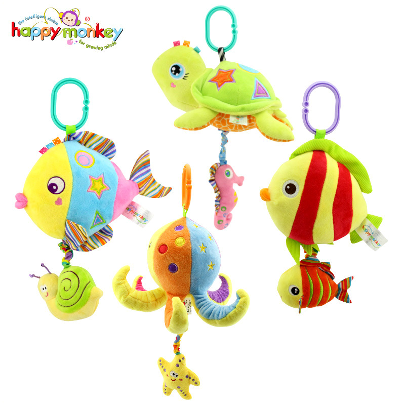 Happy Monkey Marine Animals Melody Pure Musical Rope Pull String Baby Rattle Soft Plush Ring Bell Doll Baby Bed Crib Hanging Toy mini baby elephant plush toy sounding musical rattle baby toy soft educational plush toy