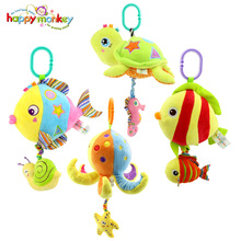 Happy Monkey Marine Animals Melody Pure Musical Rope Pull String Baby Rattle Soft Plush Ring Bell Doll Baby Bed Crib Hanging Toy