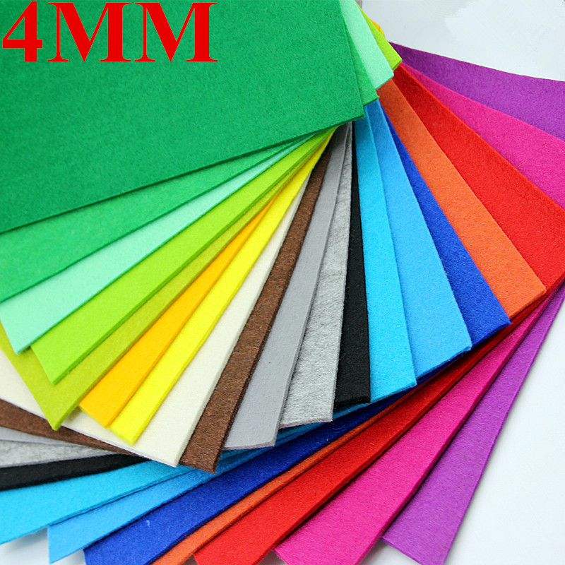 1pcs 4mm Nonwoven Polyester Fabric Cloth Felt For DIY Sewing Dolls Flowers Craft Gift Colorful Needle Wool Felt 19Colors 30*30cm