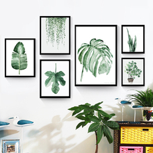 fresh green plants canvas painting fashion watercolor living room decor wall art print poster
