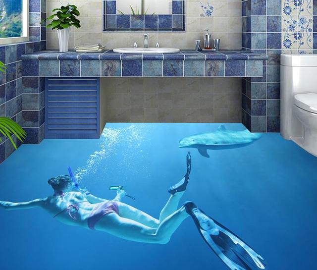 custom wallpaper 3d floor tiles bathroom vinyl wallpaper beauty dive dolphin 3d floor