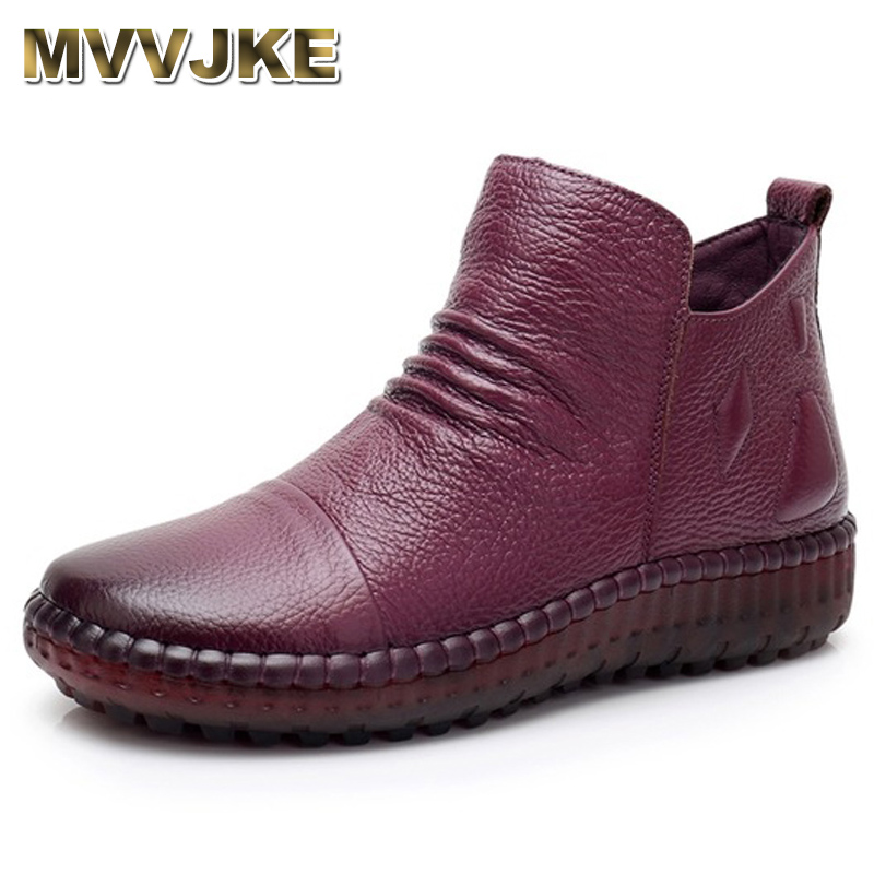MVVJKE Fashion Autum Flat Boots Genuine Leather Ankle Shoes Vintage Casual Shoes Brand Design Retro Handmade Women Boot E006