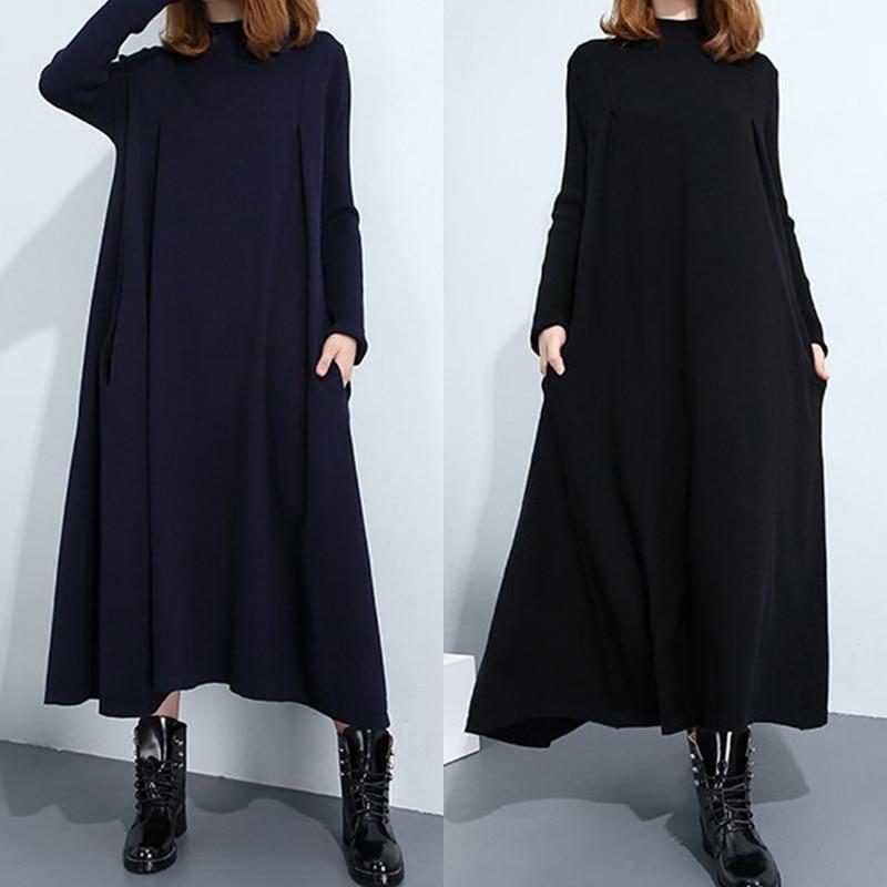 Oversized L-5XL Women Knitted Winter Warm Dresses Long Sleeve High Neck Side Pockets Long Solid Dress Loose Plus Size Vestidos