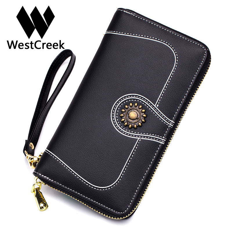 Westcreek Brand Leather Fashion Lady Wristband Wallets Minimalist Retro Clutch Phone Wallets Casual Womens Wallets and Purses