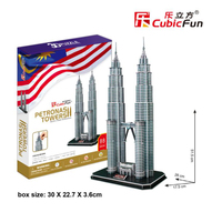 CubicFun Great Building Puzzle Toy DIY 3D Paper Puzzles Handmade Petronas Towers Cardboard Models Toys For