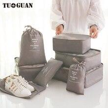 TUGUAN Men/Women Travel Package Packing Cubes Clothing Organizer 8pcs/Set Waterproof String Bag Luggage Portable Pouch Bags