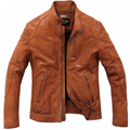 Spring New Imported Vegetable Tanned Leather Sheepskin Leather Thin Section Machine Wagon Jacket Men