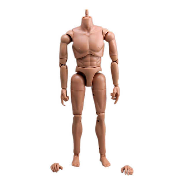[wamami] 1/6 Scale brown skin male Action Figure body go with a pair of feet