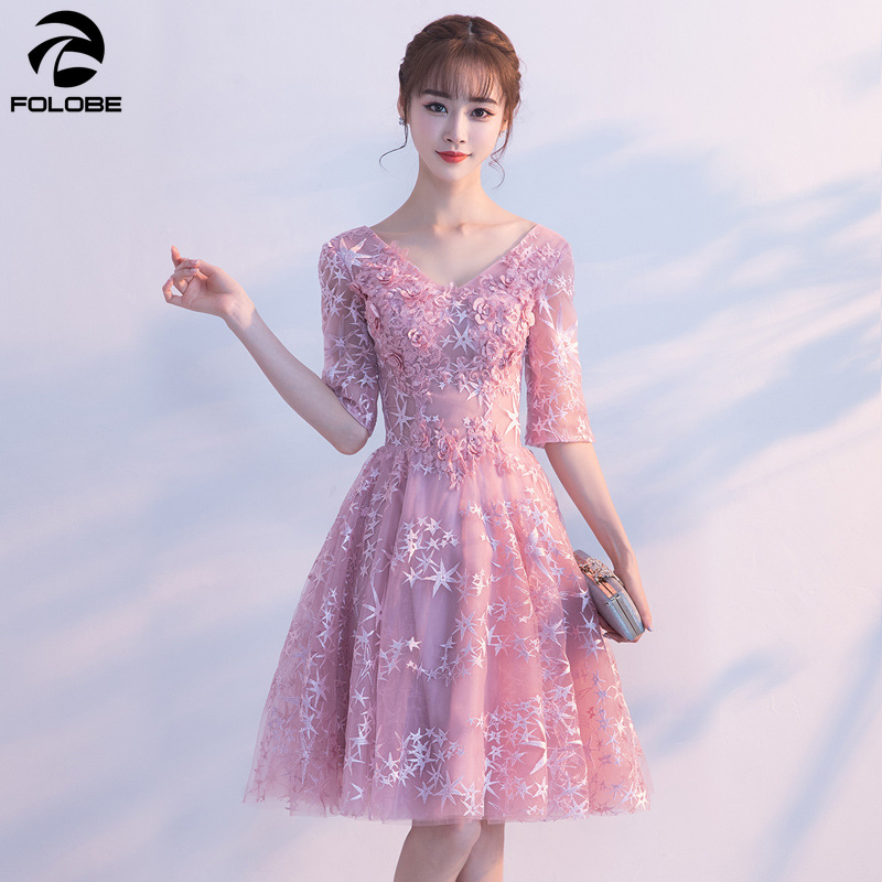 FOLOBE 2019 Spring Summer New Girls Short Pink Party Dresses A line Half Sleeve Appliques Embroidery