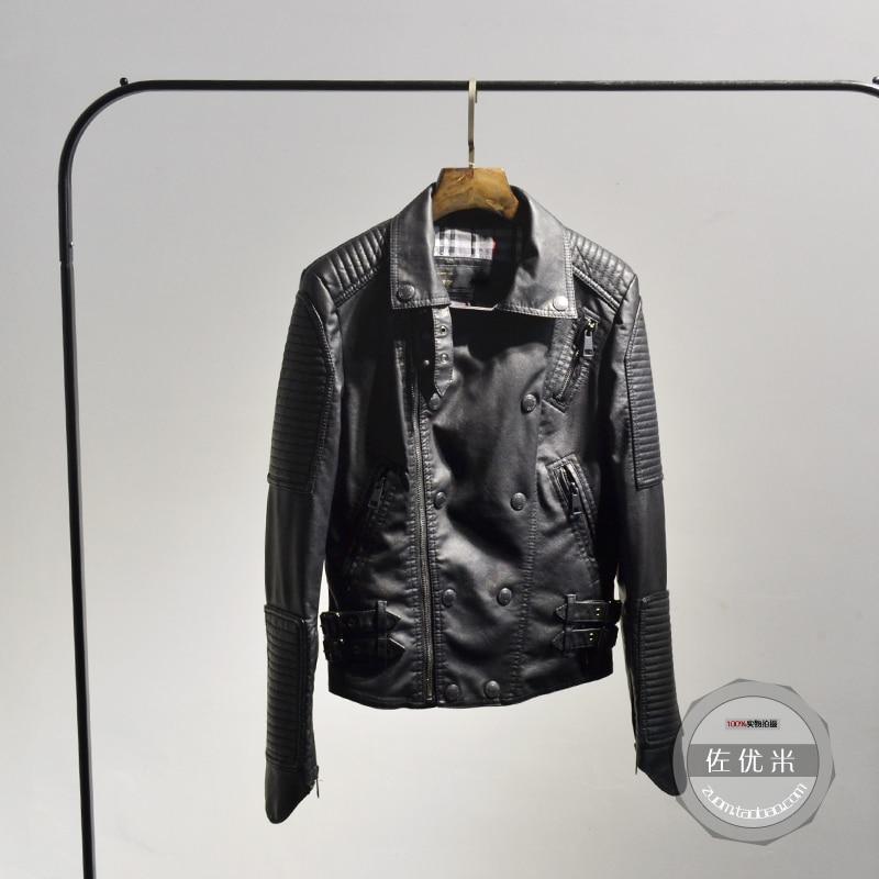 2017 Promotion réelle nouveauté bouton fermetures à glissière pleine solide femmes veste printemps femmes en cuir double boutonnage Pu moto