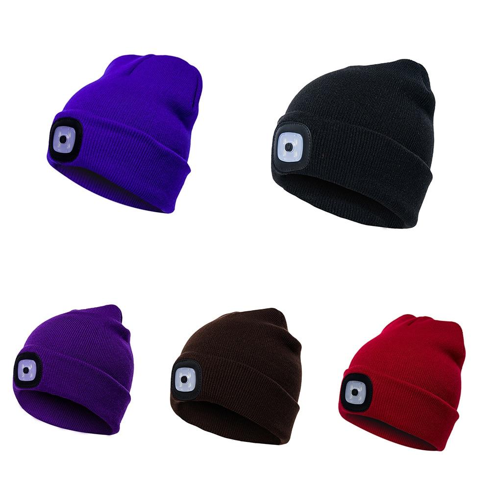 Unisex Led Light Knit Beanie Hat Multifunction Creative Lighting Cap Outdoor Sports Accessories Elasticity Soild Harajuku Winter Men's Skullies & Beanies Men's Hats