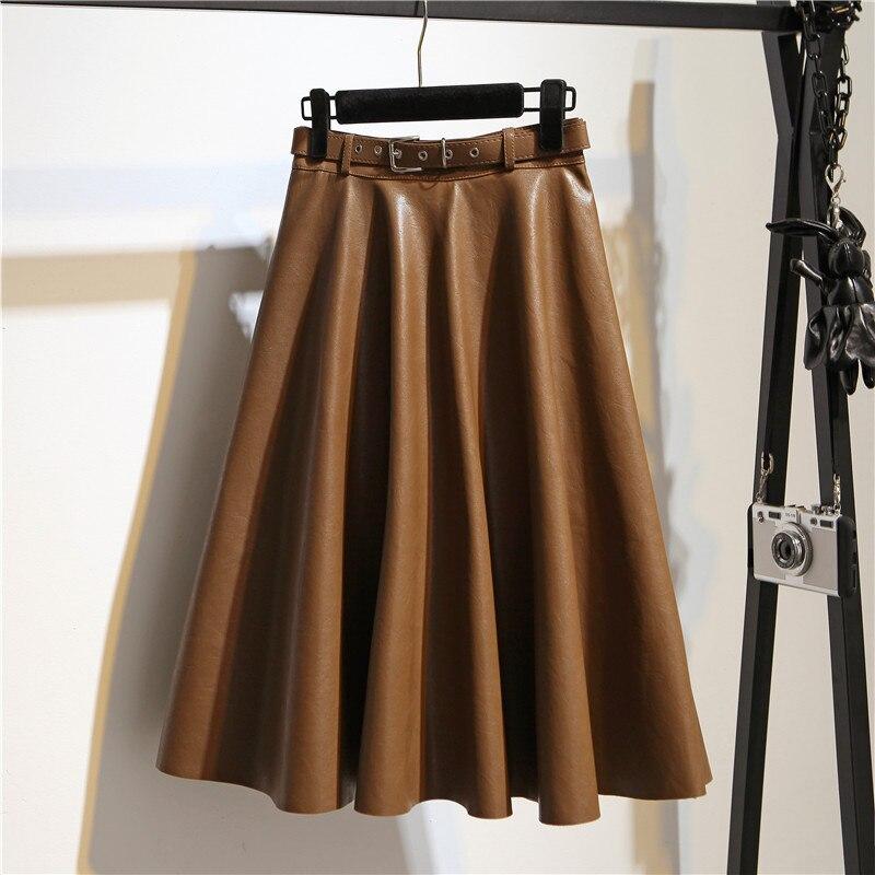 Women Fashion Midi Skirt High Quality High Waist Belted PU Leather Knee Skirt Fashion A-line Winter Skirt Plus Size Jupe Falda