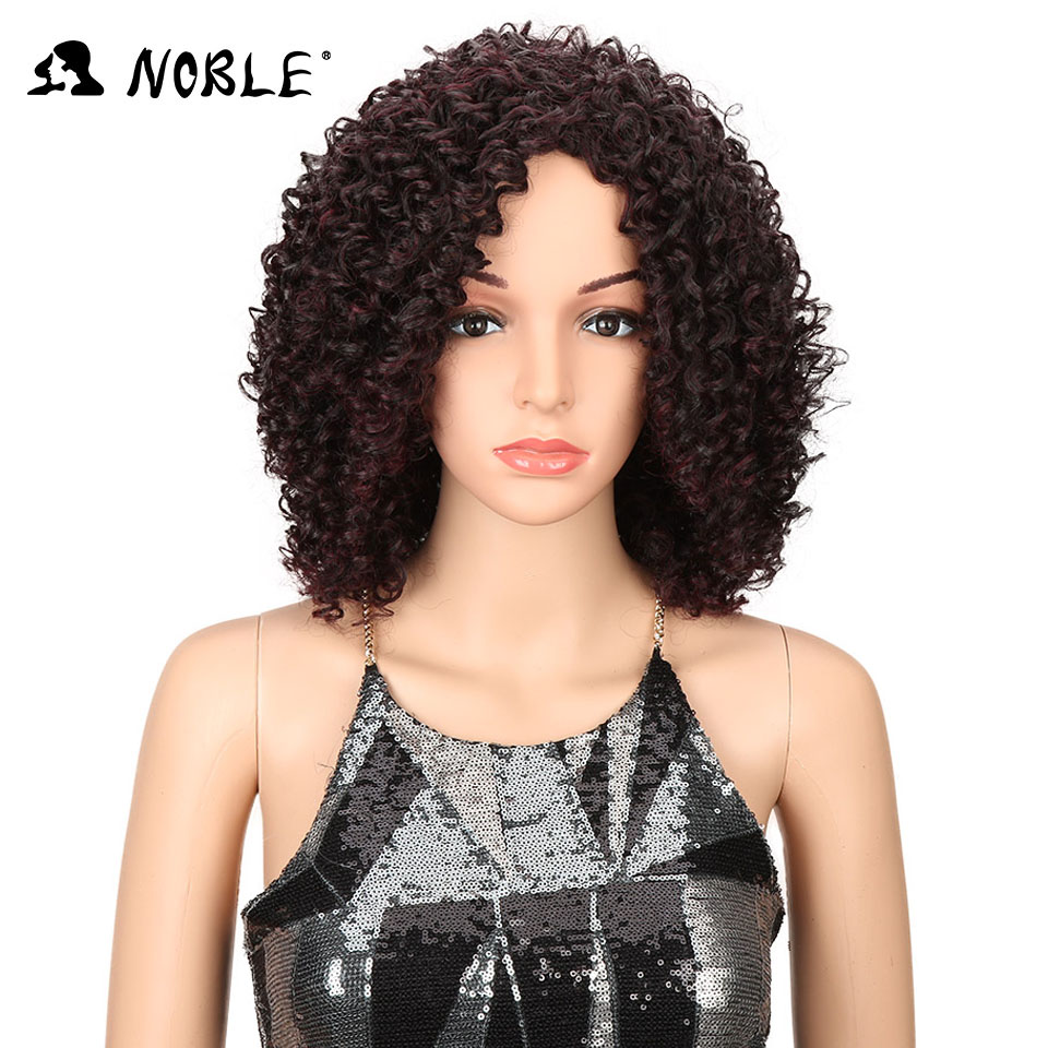 Noble Hair Short Curly Syntetisk Paryk 14 tums Ombre 99J Curly Parys - Syntetiskt hår - Foto 1