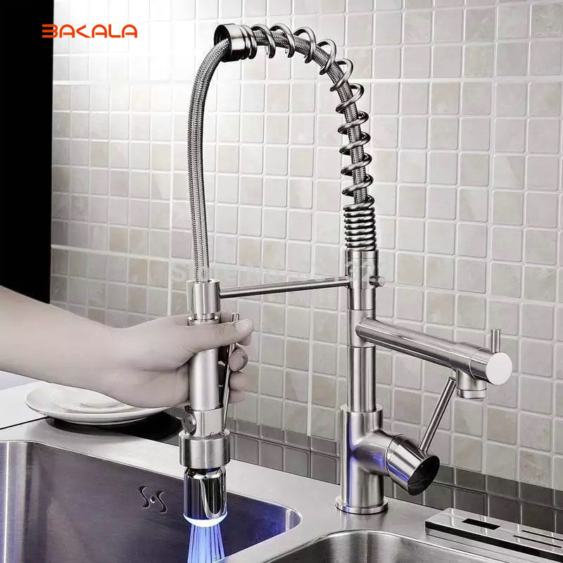 BAKALA LED Light Pull Down Kitchen Sink Faucet Single Handle Dual Spout Spring Kitchen Mixer Taps Brushed Nickel BR-1115