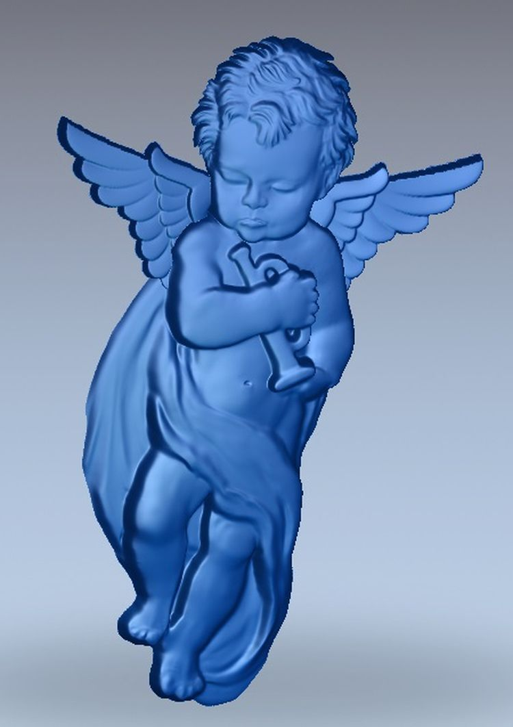 3d Model Relief  For Cnc In STL File Format Angel_with_tube