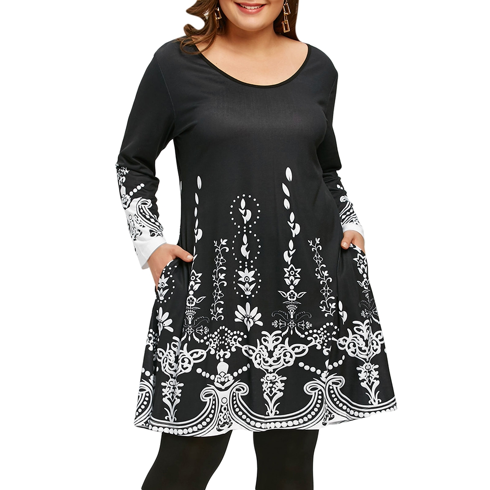 2018 Plus Size 5XL Arab Ethnic Printed Long Sleeve Tunic T-s