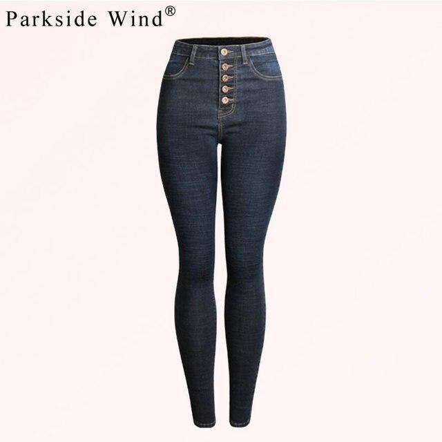 44b2b5228a2 PARKSIDE WIND High Waist Jeans Women Fashion Stretch Skinny Jeans Autumn  Winter Buttons Denim Plus Size Jeans Female KWA1051-5