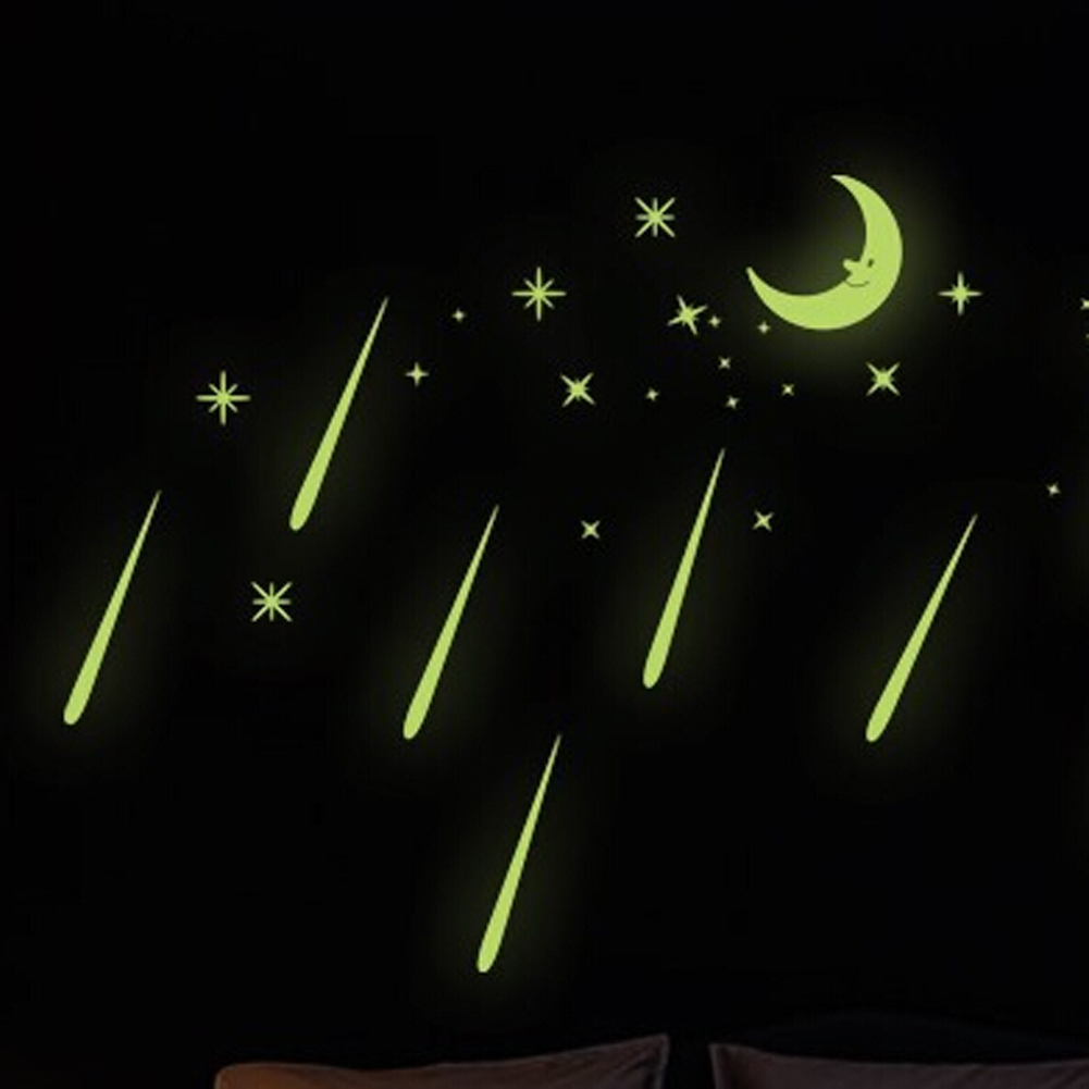 Stylish Luminous Stars Beauty Meteor Shower Moon Wall Stickers Funny High Quality