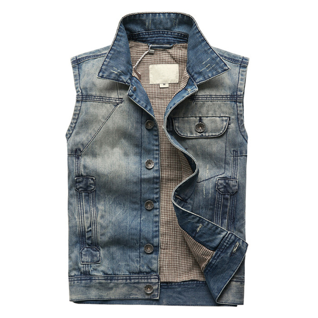 Spring Summer New Fashion Vintage Sleeveless Denim Jacket Men Quality Turn Down Collar Chaleco Jean Hombre